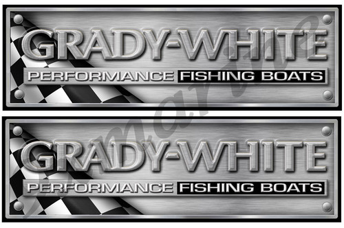 Grady White Metal Brushed Look Stickers - 10 inch long set. Remastered