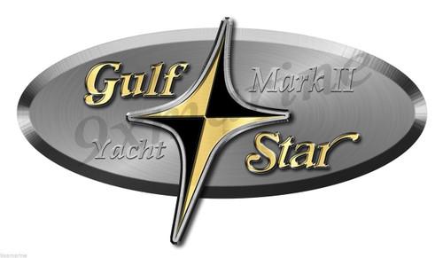 "Gulf Star Sticker (single) Die Cut 15""X8"" (not OEM). Model of your choice"
