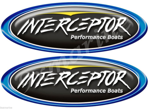 Two Interceptor Classic Black Oval Stickers