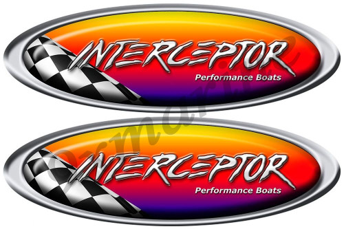 Two Interceptor Racing Oval Stickers