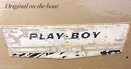 "Four Larson Play Boy Vintage Stickers. 7""X2"" Each. OEM size"