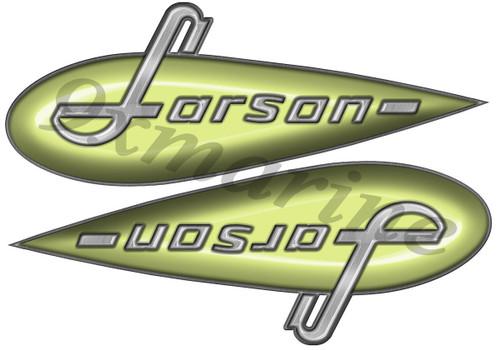 "Two Larson Vintage Stickers. 10""X3"""