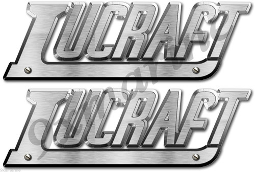 Two Lucraft brushed metal look imitation stickers