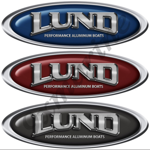 Two Oval Classic Lund Stickers. Color of your choice (NOT OEM)