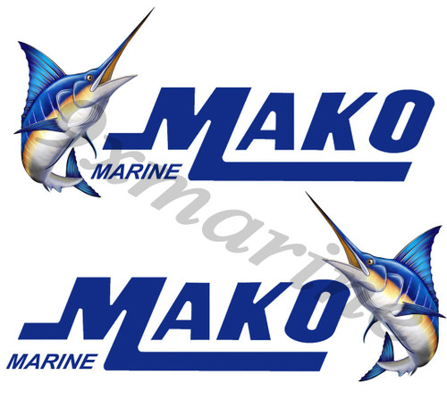 Two Mako Boat Stickers. Uncut, 8 inches long by 3.5 inches high each