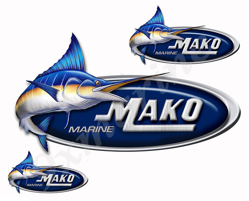 "Three Mako Boat ""Marlin"" Designer Stickers"