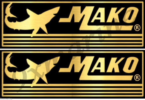 """Two Golden Mako Boat Stickers. 16""""X5.25"""" each"""
