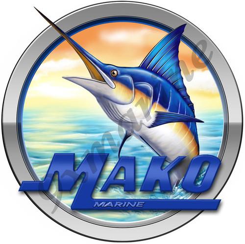 "Single Round Mako Center Console Sticker 11""x11"" Diameter"
