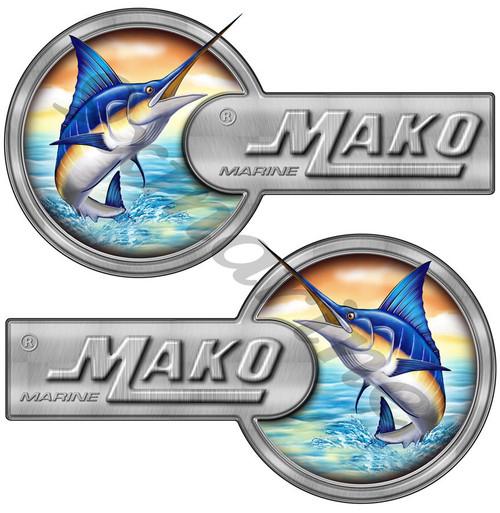 "Two Mako Custom Laminated Stickers - 16""X9"" each. Port Side & Star Board Set"