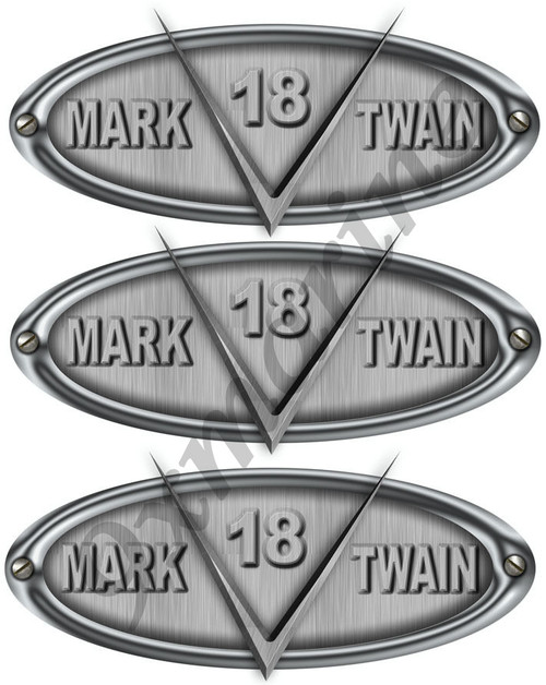 3 Mark Twain Boat Company Vsonic Brushed Metal Look Oval Sticker