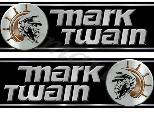 "Two Mark Twain Boat Company Remastered Stickers 10"" X 3.5"""