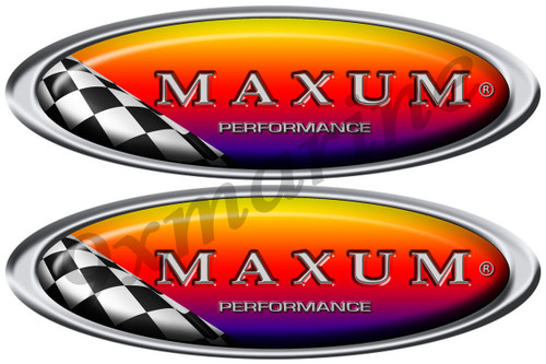 Maxum Oval Stickers - 10 inch long set. Remastered