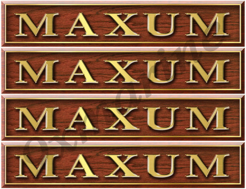 Maxum Woodgrain Stickers - 10 inch long set. Remastered