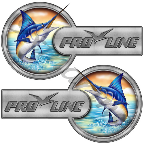 "Two Pro Line Laminated Custom Stickers - 16""X9"" each. Port Side & Star Board Set"