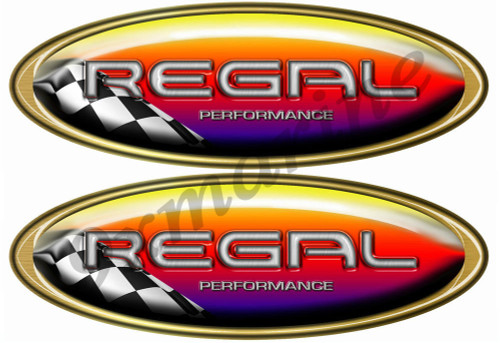 Two Regal Boat Oval Racing Sticker Set