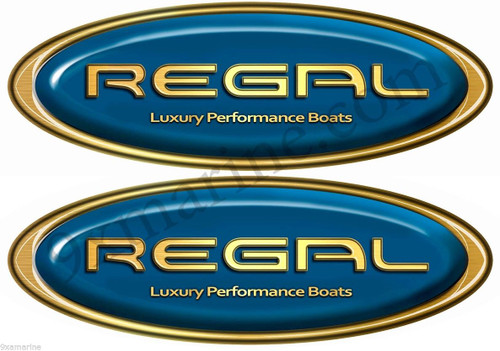 Two Regal Boat Blue Oval Sticker Set