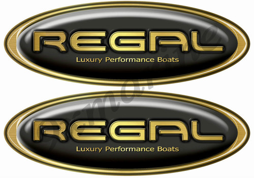 Two Regal Boat Oval Black Classic Sticker Set