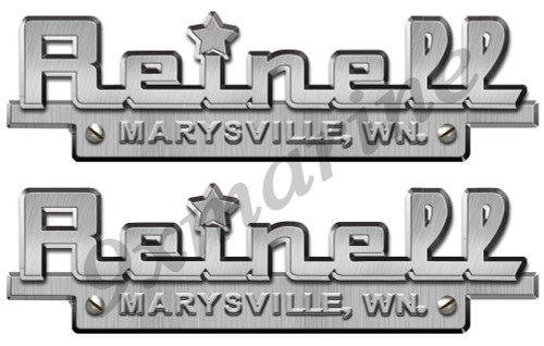 "Two Reinell Custom Stickers - 10""X3"" Brush metal imitation"