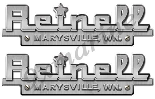 "Two Reinell Custom Stickers - 10""X3"" Brush metal imitation"