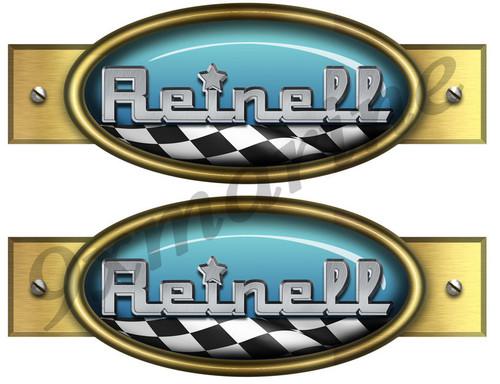 "Two Reinell Retro Stickers - 9""X3.5"""