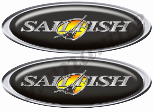 Two Oval Sailfish stickers for boat restoration. 10 inch long each