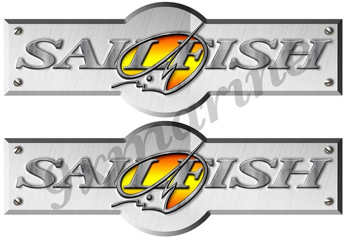 Two Designer Sailfish Stickers for boat restoration. 10 inch long each