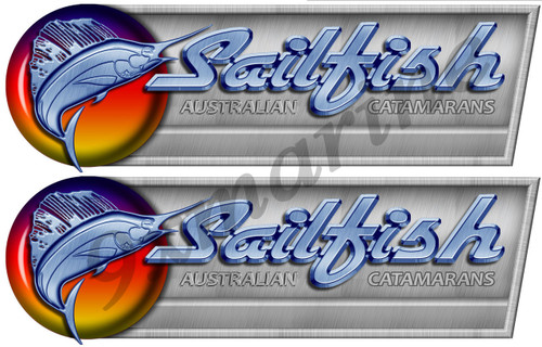 Two Sailfish Designer stickers for boat restoration. 10 inch long each