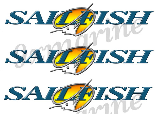"3 Sailfish 10""x1"" Stickers for boat restoration"