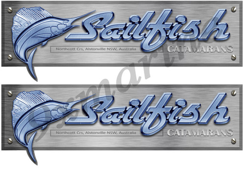 Two Sailfish Stickers. 16 inch long each Die Cut