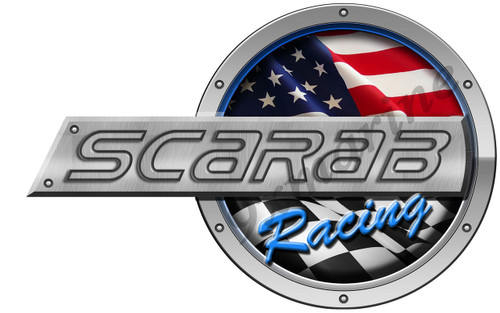 "Scarab Racing Round Sticker 16""X10"""