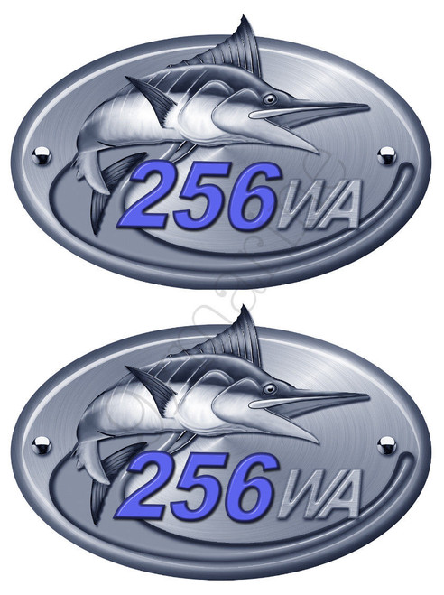Two Sea Fox Two Color Walk Around Boat Stickers. Number of your choice