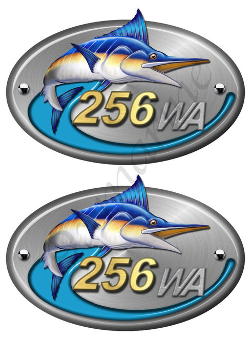 Two Sea Fox Color Walk Around Boat Stickers. Number of your choice