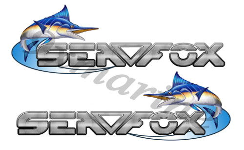 Two Sea Fox 16 inch Die Cut Stickers Left/Right