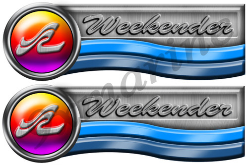 """Two Weekender Designer Stickers. Remastered 3.5""""X10"""" Long each"""