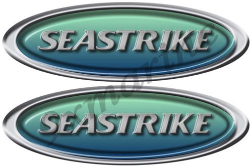 "Two Seastrike 10"" Oval Boat Restoration Sticker Set"