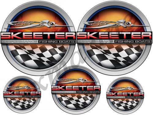 Skeeter round stickers. Remastered stickers for boat restoration project