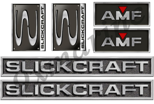 4 Slickcraft AMF Stickers - 10 inch long set. Replica in vinyl