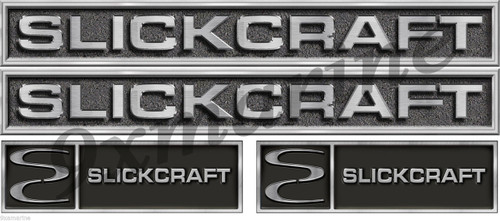 Four Slickcraft Stickers - 18 inch long set. Replica in vinyl