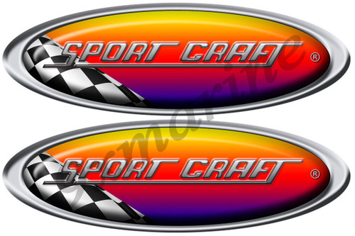 Two Sport Craft Vinyl Racing Oval Stickers 10 Inches long each