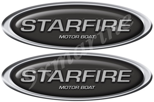 """Two Starfire 10""""X 3.5"""" Long Oval Stickers. Remastered"""