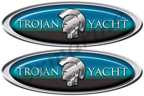 "Two Trojan Boat Custom Oval Stickers - 10""X3.5"""