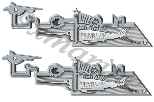 Two Trojan Vintage Marlin Boat Remastered Stickers