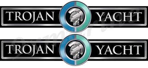 Two Trojan Boat Custom Stickers - 16 inch long