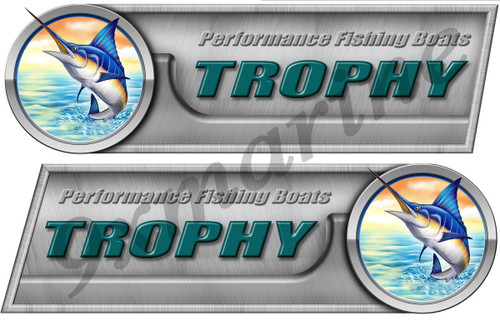 """Two Trophy 10"""" Long Sticker Set Left/Right"""