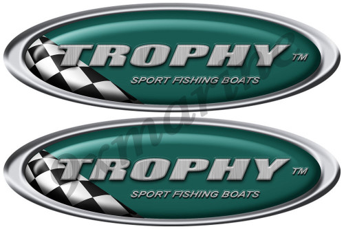 Two Trophy Oval Classic Sticker Set