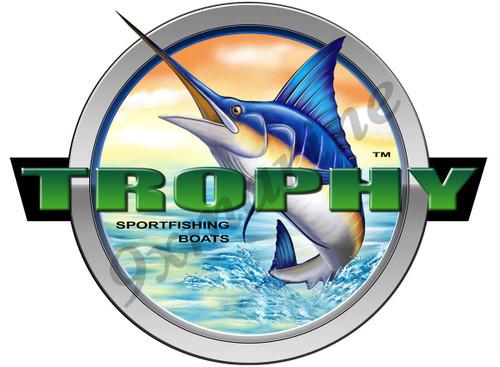 """Trophy Round Marlin Type Sticker 7.5""""X7.5"""" diameter"""