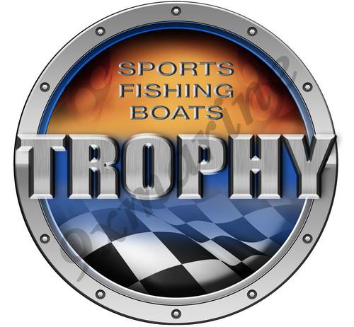 """Trophy Round Techno Type Sticker 7.5""""X7.5"""" diameter"""