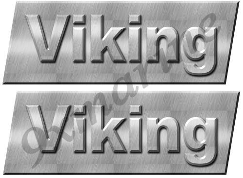"Two Viking Yacht Bridge Custom Stickers - 3""X10"". Remastered Set"