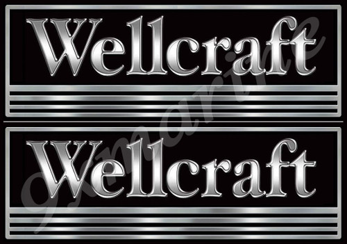 Two Wellcraft Boat B&W Classic Stickers for Restoration Project