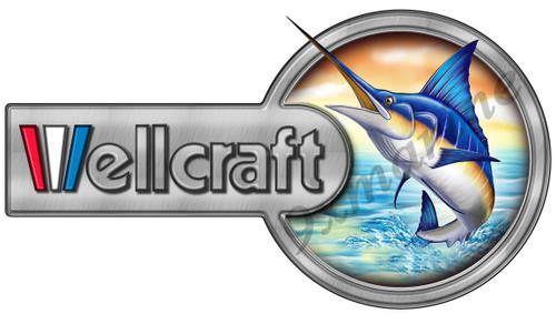 """Two Part Wellcraft Boat Laminated Sticker 13""""X7"""""""